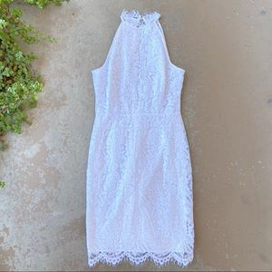 BB Dakota White Lace Halter Sheath Dress
